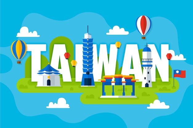 Palavra de taiwan com design de pontos de referência
