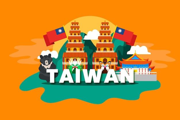 Palavra de taiwan com marcos