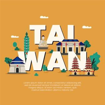 Palavra de taiwan com pontos de referência