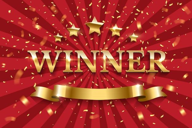 Palavra de vencedor de ouro com cinco estrelas e fita em fundo listrado vermelho.