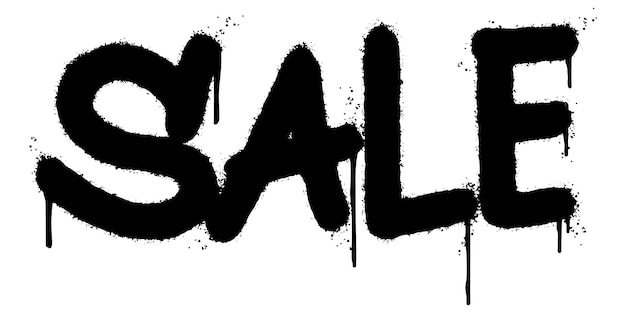 Palavra de venda de graffiti pulverizada isolada no fundo branco. grafite de fonte de venda pulverizada. ilustração vetorial.