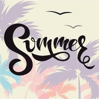 Palavra de verão com as palmas das mãos e lettering verão!