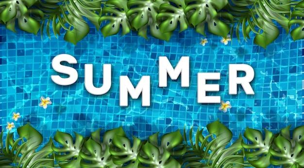 Palavra de verão com piscina e plantas exóticas
