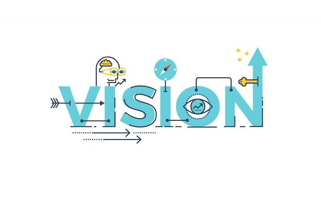 Palavra de visão de negócios rotulação tipografia design ilustração