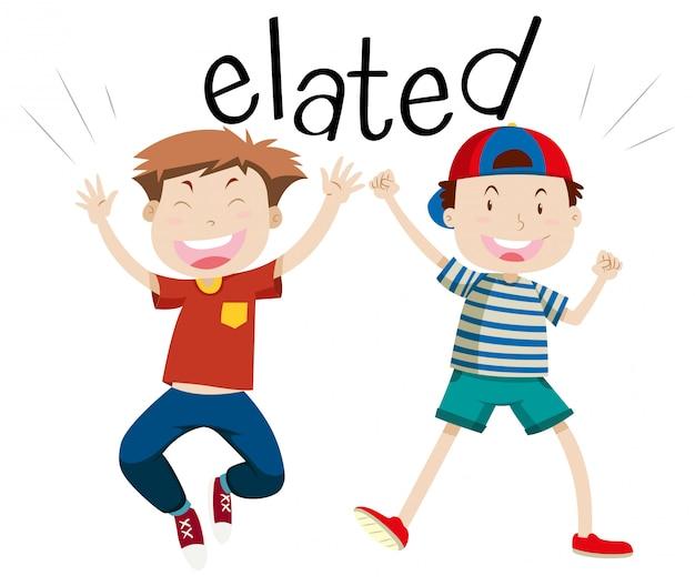 Palavra do vocabulário em inglês elated