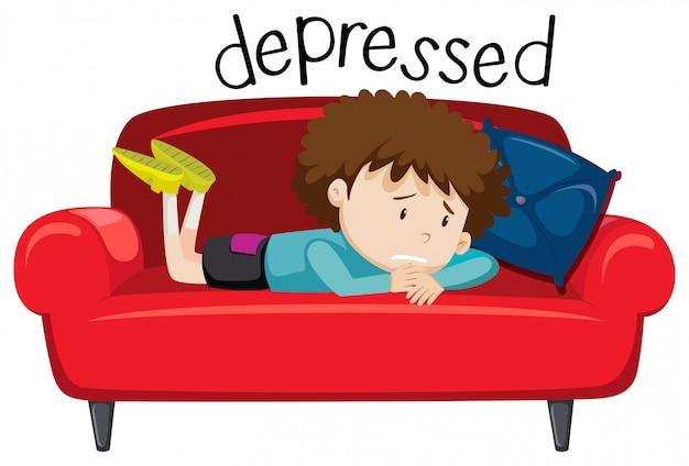 Palavra do vocabulário inglês de deprimido