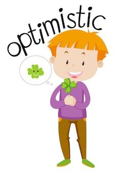 Palavra do vocabulário inglês otimista