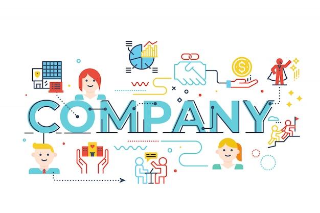 Palavra empresa, lettering, ilustração
