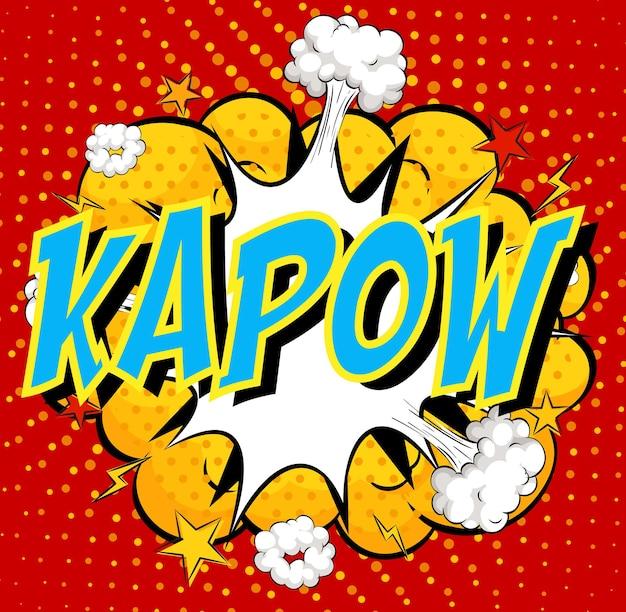 Palavra kapow sobre fundo de explosão de nuvem em quadrinhos