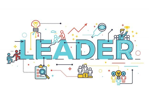 Palavra líder no conceito de liderança empresarial, palavra lettering design ilustração