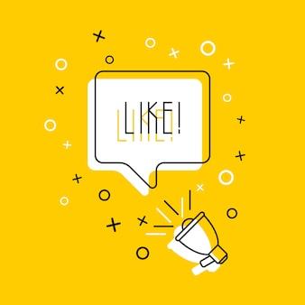 Palavra 'like' no balão e no alto-falante. ilustração em vetor linha fina simples.