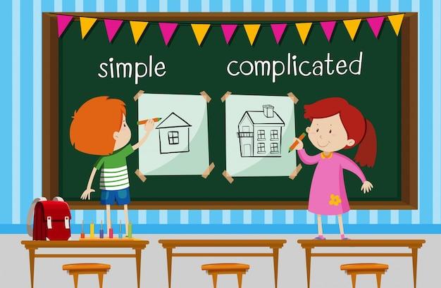 Palavra oposta com crianças desenhando casas simples e complicadas