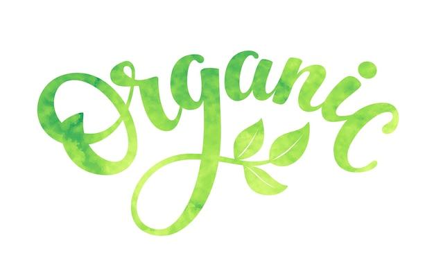 Palavra orgânica com folhas verdes.