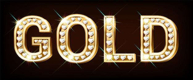 Palavra ouro feita de letras douradas com diamantes em forma de coração.