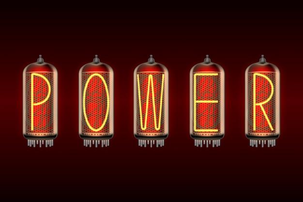 Palavra power em lâmpadas indicadoras de tubo nixie com estilo retro