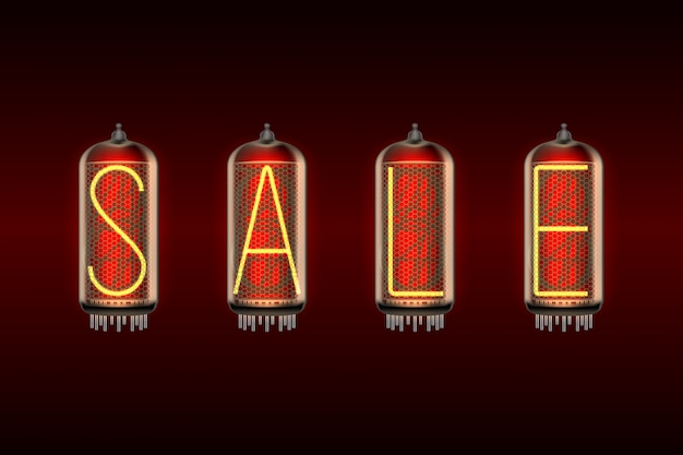 Palavra venda em lâmpadas indicadoras de tubo nixie com estilo retrô