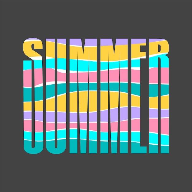 Palavra verão e letras com cores brilhantes