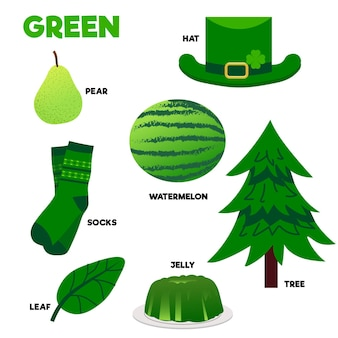 Palavra verde e pacote de elementos em inglês