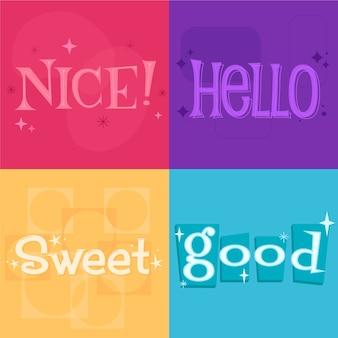 Palavras bonitas para dizer letras de estilo retrô