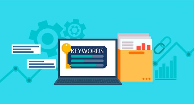 Palavras-chave banner de pesquisa. laptop com uma pasta de documentos e gráficos e chave.