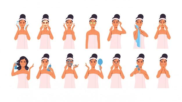 Palavras-chave: retrato mulher aplicar-se composição vestido toalha toalha menina spa novo cuidado spa tratamento facial facial conceito relaxe