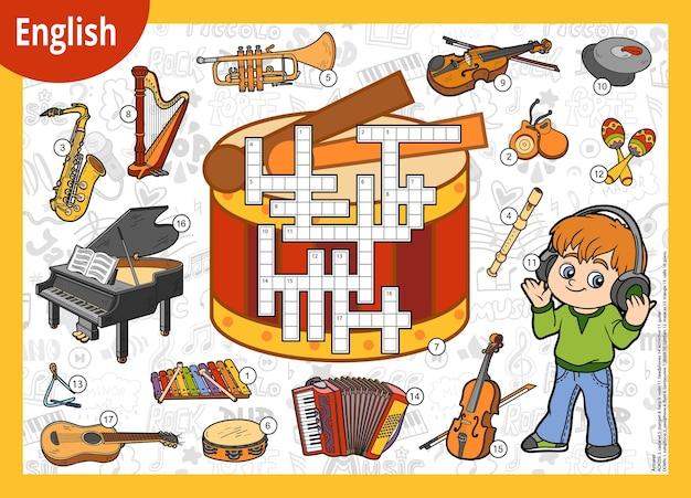 Palavras cruzadas coloridas de vetor em inglês menino dos desenhos animados em fones de ouvido e um conjunto de instrumentos musicais
