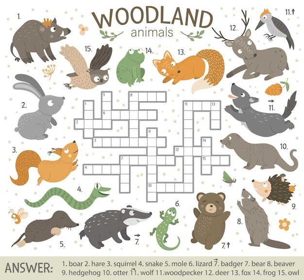 Palavras cruzadas com animais da floresta.