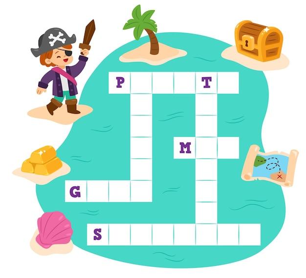 Palavras cruzadas com palavras diferentes em inglês e pirata