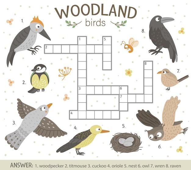 Palavras cruzadas com pássaros da floresta.