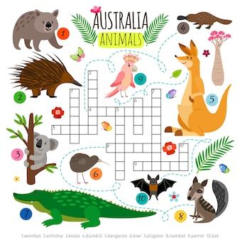 Palavras cruzadas de animais australianos.
