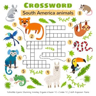 Palavras cruzadas de animais da américa do sul. planilha de atividades para crianças em idade pré-escolar.