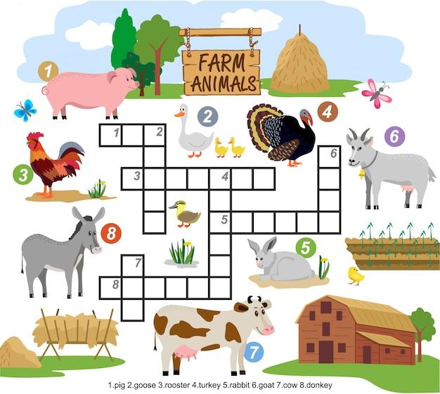 Palavras cruzadas de animais de fazenda