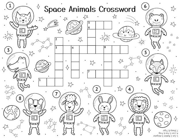 Palavras cruzadas de animais espaciais com personagens fofinhos página de atividades em preto e branco para crianças