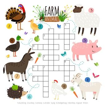 Palavras cruzadas de animais ffarm para crianças