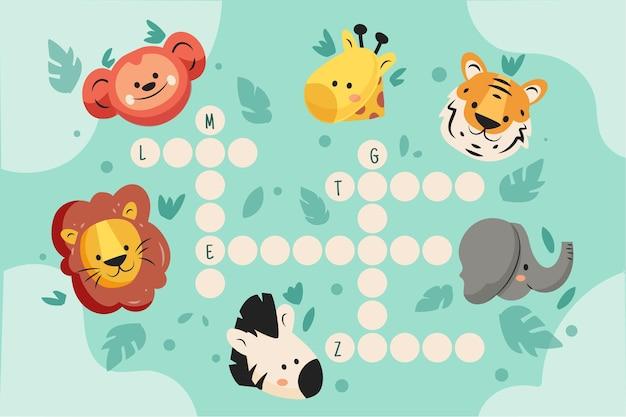 Palavras cruzadas em inglês com animais