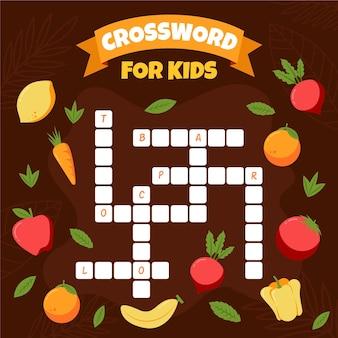 Palavras cruzadas em inglês com frutas e vegetais