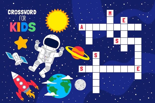 Palavras cruzadas em inglês para crianças com elementos de espaço