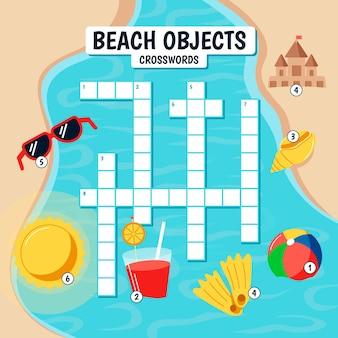 Palavras cruzadas em inglês para crianças com elementos de praia