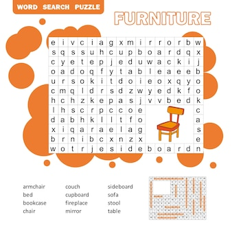 Palavras cruzadas - móveis de sala de estar - aprendendo palavras em inglês. quebra-cabeça de busca de palavras. folha de trabalho para crianças. versão colorida para impressão com resposta