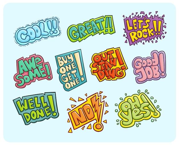 Palavras de cores vibrantes engraçadas e fofas.