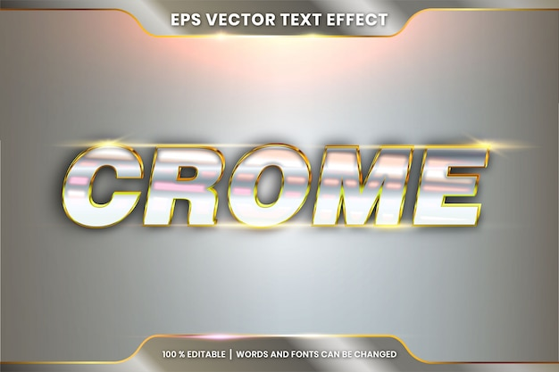 Palavras de cromo, conceito de metal efeito texto editável