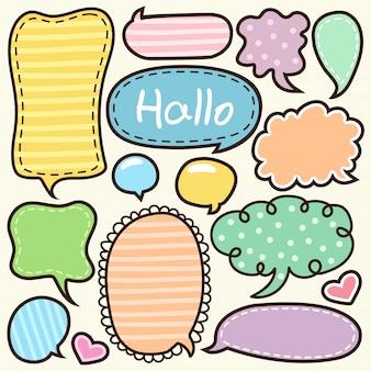 Palavras de desenhos animados rótulo doodle fofo
