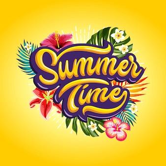 Palavras de horário de verão com plantas tropicais