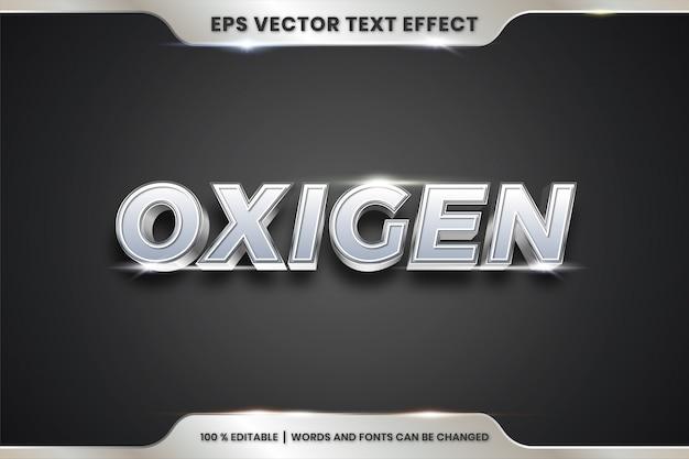 Palavras de oxigênio, texto efeito editável metal prata cor conceito