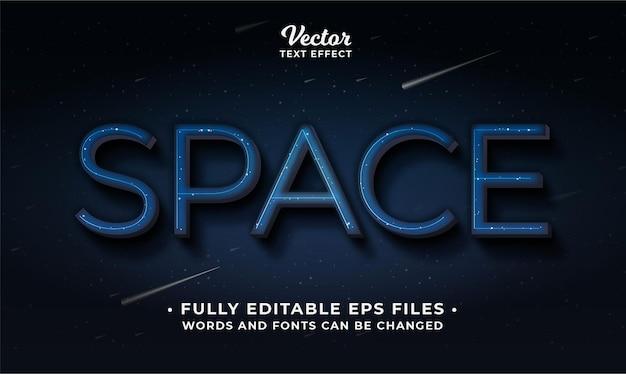 Palavras e fontes de efeito de texto de espaço são editáveis em eps cc