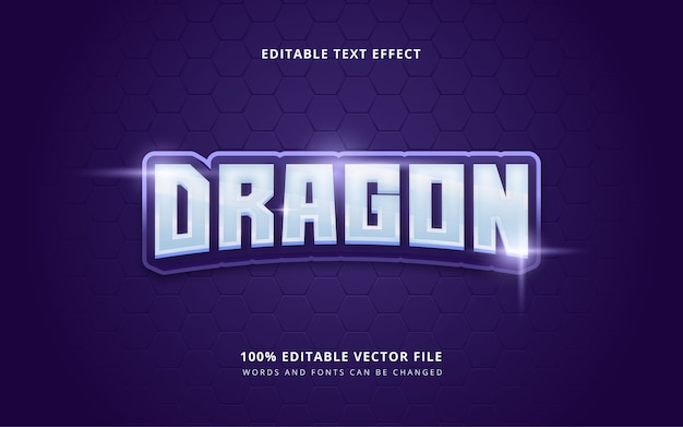 Palavras e fontes editáveis do estilo de texto do esporte eletrônico do dragão