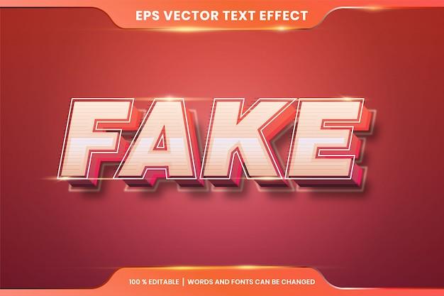 Palavras falsas, conceito retro editável do efeito do texto 3d