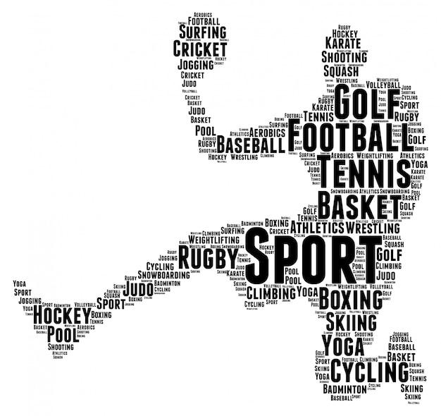 Palavras nuvem conceito de forma de jogador de esporte