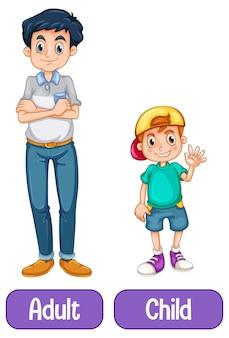 Palavras opostas com adulto e criança