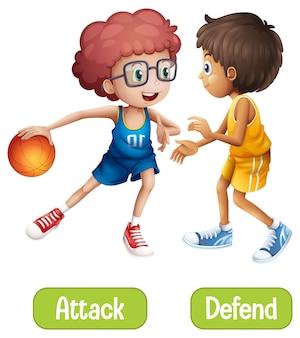 Palavras opostas com ataque e defesa